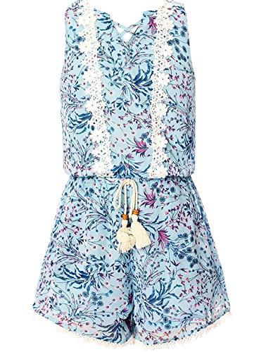 Smukke, Big Girls Vintage Lace Trimmed Sleeveless Summer Romper with Pockets (Many Options), 7-16 (Light Blue, 10)