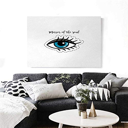 homehot Eyelash Canvas Wall Art for Bedroom Home Decorations Blue Woman Eye Stitch Patch Style Graphic Design Famous Inspirational Quote Art Stickers 48