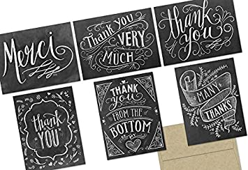 amazon com 72 thank you cards chalkboard thank you 6 designs