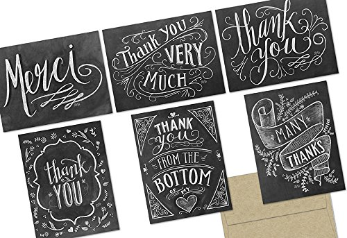 Chalkboard Thank You - 36 Note Cards - 6 Designs - Kraft Envelopes Included by Note Card Cafe