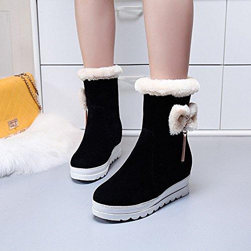 Charm Foot Womens Bows Platform Wedge Velvet Lining Winter Boots Black 19m47