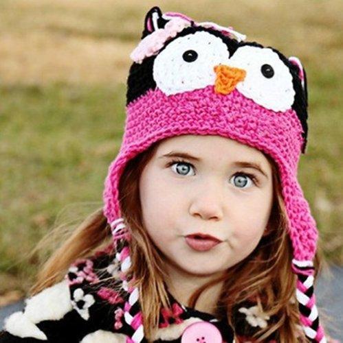 Handmade Wool Cap - Baby Girl Boy Crochet Hat Knit Handmade Wool Cap (Black+rose red)