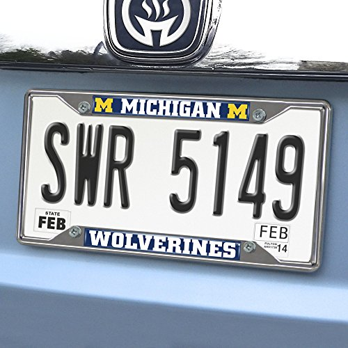 FANMATS 14823 NCAA University of Michigan Wolverines Chrome License Plate Frame , 6.25