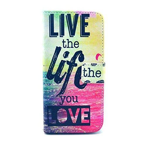 Monkey Cases® iPhone 6 4,7 Zoll - Flip Case - LIVE THE LIFE YOU LOVE - Premium - original - neu - Tasche