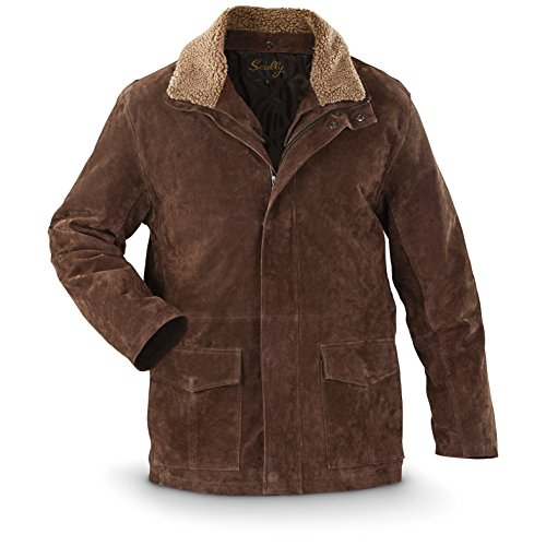 Leather Straight Collar Coat (Scully Men's Double Collar Leather Coat, Brown, 2XL)