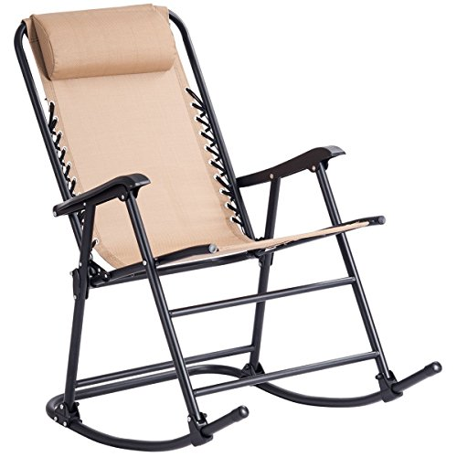 MD Group Zero Gravity Rocking Chair Patio Folding Beige Outdoor Porch Rocker Furniture Garden Lounger by MD Group
