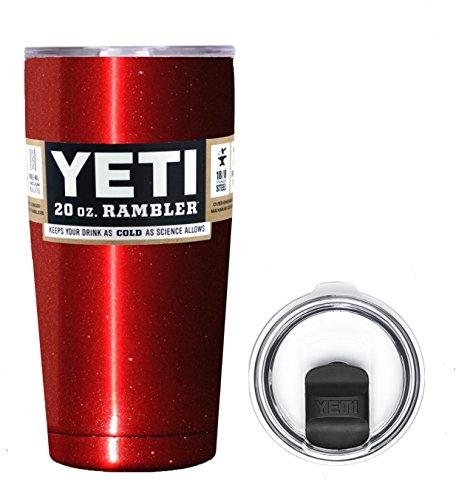 YETI Coolers 20 Ounce (20oz) (20 oz) Custom Rambler Tumbler Cup Mug Bundle with New Magslider Spill Proof Lid (Red Metallic)