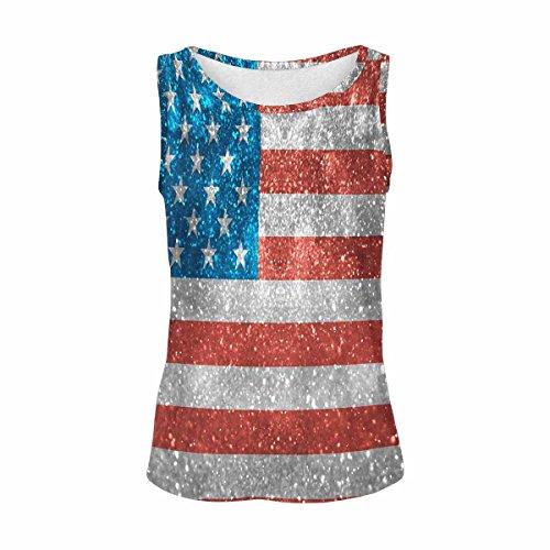 INTERESTPRINT Glitter USA Flag Women's Vest Tank Tops Sleeveless Shirt XL