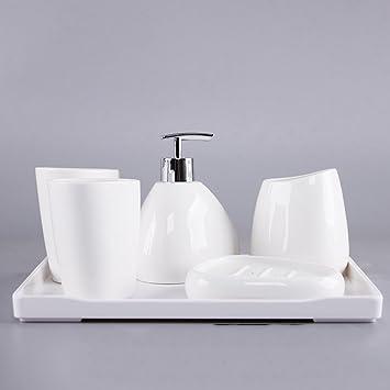 Home U0026 Style Modernes Bad Accessoireset Bestehend Aus Seifenspender, Tasse,  Seifenschale Und Zahnbürstenbecher