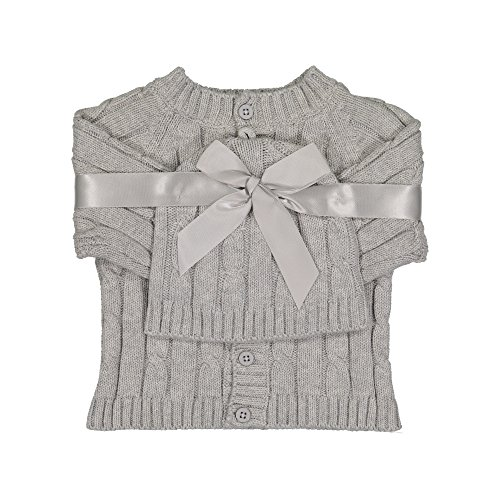Baby Dove Newborn Cable Knit Cardigan & Beanie Gift Set (3-6 Months, Light Grey)