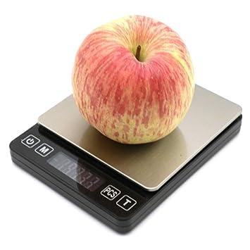 QMKJ Balanza de Cocina Digital Escala de Cocina de Acero Inoxidable para Uso doméstico exactitud hasta