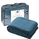 HILLFAIR 100% Soft Premium Combed Cotton Thermal Blanket- Queen Blankets- Soft Cozy Warm Cotton Blanket- Bed Throw Blanket- Queen Bed Blankets- All Season Cotton Blanket- Teal Queen Cotton Blankets