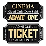Pack of 8 Movie Ticket Wall Plaques 19.75''