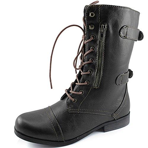 Dailyshoes Vrouwen Evan-10 Enkel Rits Militaire Gevechtslaarzen, 5 B (m) Ons