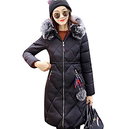 Ladies Slim Down Coat Black UK XXL Women Winter Padded Hooded Parka Grey Long Jacket M Jacket 80nnfRg