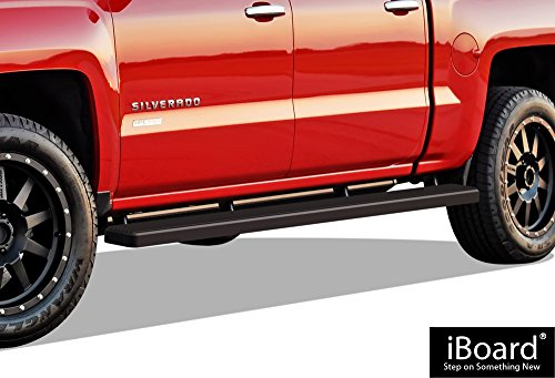 (APS iBoard Running Boards (Nerf Bars) for 2007-2018 Chevy Silverado/GMC Sierra Crew Cab 6.5ft Bed & 2019 2500 HD / 3500 HD (Excl. 07 Classic Models) | (Black Powder Coated 5 inches Wheet to Wheel))
