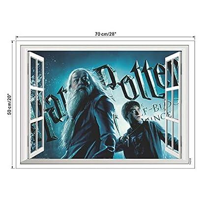 JEWH 3D Vivid Magic Harry Potter Window Wall Stickers Home Decor Hogwarts World School Decals PVC