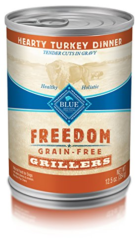 BLUE Freedom Grillers Adult Grain Free Hearty Turkey Wet Dog Food 12.5oz (Pack of 12)