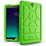 Poetic TurtleSkin Galaxy Tab S3 9.7 Rugged Case With Heavy Duty Protection Silicone and Sound-Amplification feature for Samsung Galaxy Tab S3 9.7 Green