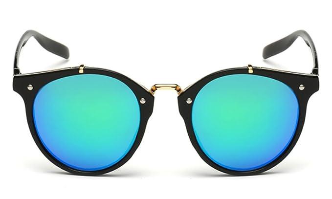 05bf27fdec8cd Vintage Keyhole Sunglasses for Women Men Clear Mirror Lens Plastic Round  Frame (Green)