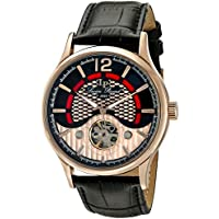 Lucien Piccard Men's 'Transway' Automatic Stainless Steel and Black Leather Casual Watch (Model: LP-15038-RG-01)