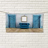 Chaneyhouse Antique,Sports Ttowel,Empty Room with Two Doors Armchair and Simple Mirror with Golden Color Frame,Absorbent Towel,Blue Sand Brown Size: W 12'' x L 35.5''