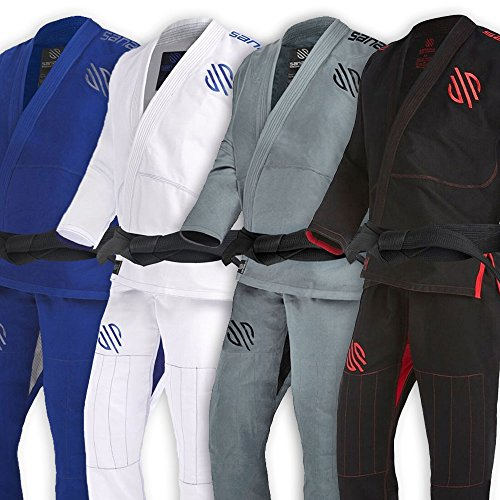Sanabul Essentials Version 2 Ultra Light BJJ Jiu Jitsu Gi with Preshrunk Fabric (Black, A1)