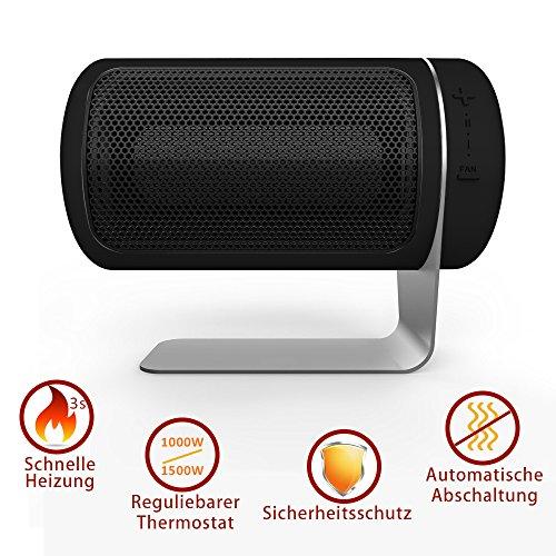 Heizlüfter - QZT 1500W / 1000W Mini Keramik Heizung mit regulierbaren Thermostat, Warm/Kalt Ventilator Indoor Heizung für Tisch Schreibtisch Boden Bùro