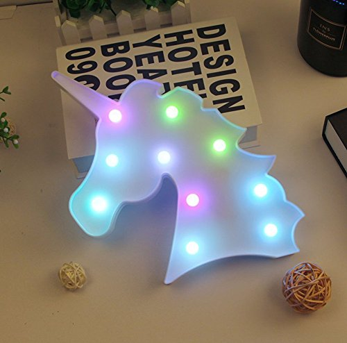 Iefoah Colorful Unicorn Light Marquee Unicorn Decorative Signs Unicorn Shaped Battery Operated Night Lamp for Wall Home Bedroom Party Theme Supplies Decorations Girls Kids Birthday Gifts