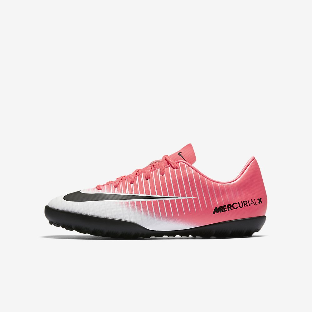 Nike Youth Soccer MercurialX Vapor XI Turf Shoes (3 Little Kid M, Race Pink/Black/White)