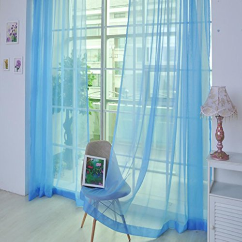 Voile Curtain, Joopee 1 PCS Pure Color Tulle Door Window Curtain Drape Panel Sheer Scarf Valances (1PC, K) by Joopee (Image #1)