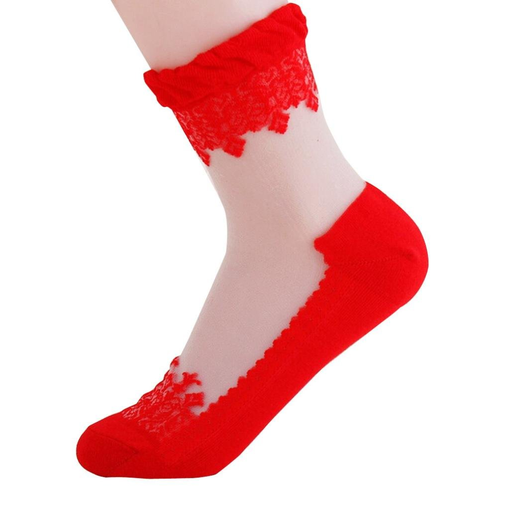 DBolomm Ultra thin Transparent Crystal Lace Chic Elastic Short Socks Ankle High Socks (Free Size, Red)