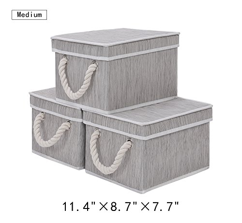 Storage Bin with Lid, Foldable Basket Organizer With Strong Cotton Rope Handle By StorageWorks, Gray, Bamboo Style, Medium, 3-Pack