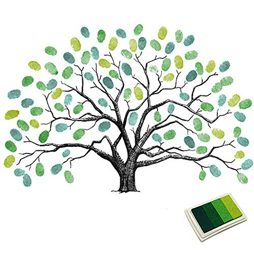 Fingerprints Tree, Proboths Creative Wedding Guest Signature Sign-in Book Canvas Ballons Tree Fingerprints Painting Decor for Wedding Party with 4pcs Ink Pads Green]()