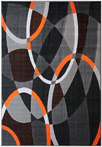 Masada Rugs, Modern Contemporary Area Rug, Orange Grey Black 5 Feet X 7 Feet