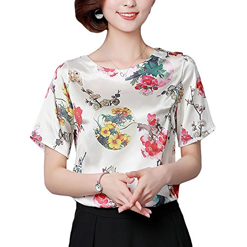 (ZooBoo Womens Silk Shirt Blouse - Chinese Traditional Ladies Vintage Satin Short Sleeve Round Neck Floral Printed T-Shirt (M, White)