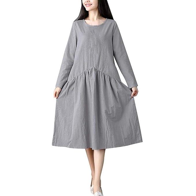 DOGZI Vestido Mujer Suelto Color sólido Empalme Algodón y Lino Falda de Camisa Large Size Mujer Long Sleeve Vestido otoño-Invierno 2018: Amazon.es: Ropa y ...
