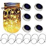 6 pack solar mason jars lights, 20 led string fairy firefly lights lids jar lights with 6 hangers