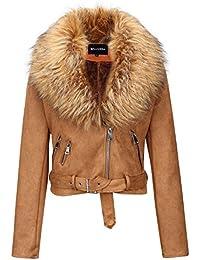 Women's Faux Suede Short Jacket, Moto Jacket with Detachable Faux Fur Collar