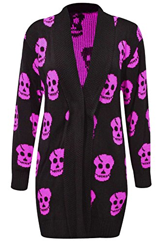 Thever Women Ladies Halloween Skull Skeleton Print Open Front Knitted Cardigan (2XL(18-20), -