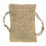 25 Pack - CleverDelights 2'' x 3'' Burlap Bags with Natural Jute Drawstring