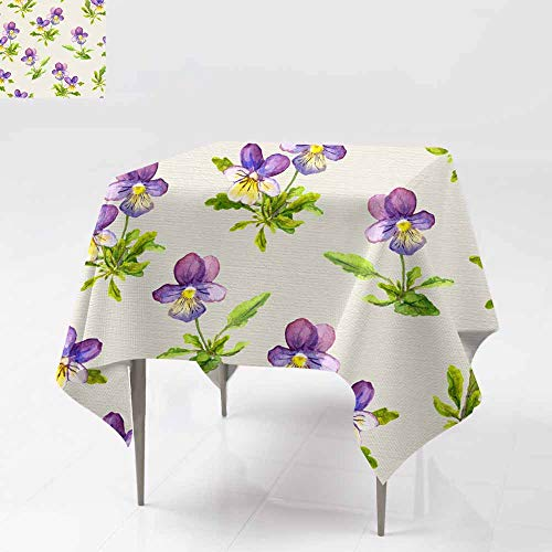 Fbdace Tablecloth for Kids/Childrens,Seamless Floral Backdrop with Violet Viola Flowers on Linen Texture Dinner Picnic Table Cloth Home Decoration 54x54 Inch