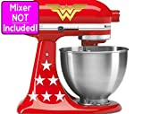 Wonder Woman sticker set for KitchenAid stand mixers (Metallic Gold logos w/white stars) NO MIXER INCLUDED - Decals ONLY