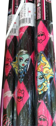 Monster High ~ Fun Gift Wrap. 20 Sq. Ft. (1 Roll) Wrapping (Licensed Black Steins)
