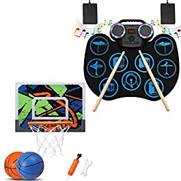 Door Basketball Hoop Set Xmas Birthday Gift for Basketball Fan Electronic Drum Set Rock Musical Instruments for Kids…