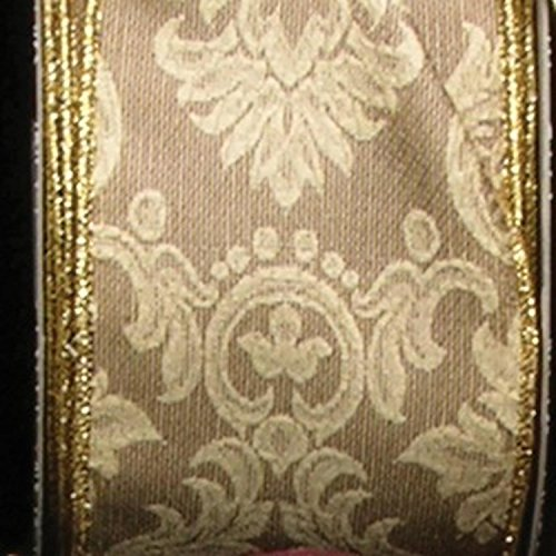 Ivory Damask Print Taffeta Wired Craft Ribbon 3