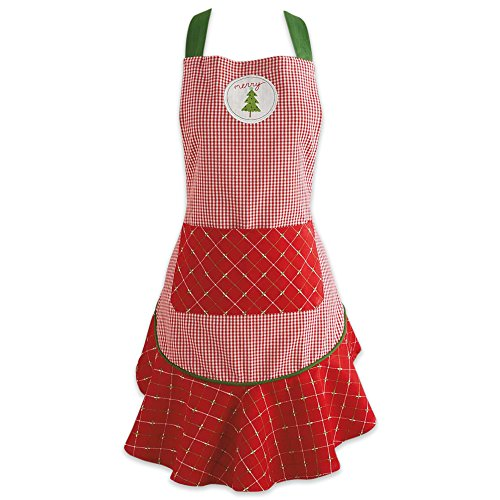 DII Cotton Chistmas Kitchen Apron with Pocket and Extra Long Ties, 29.5 x 26, Cute Women Ruffle Apron for Holidays, Hostee and Housewarming Gift-Merry Xmas