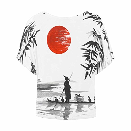 INTERESTPRINT Women O-Neck Batwing Blouse Tops Casual T-Shirt Japanese Painting