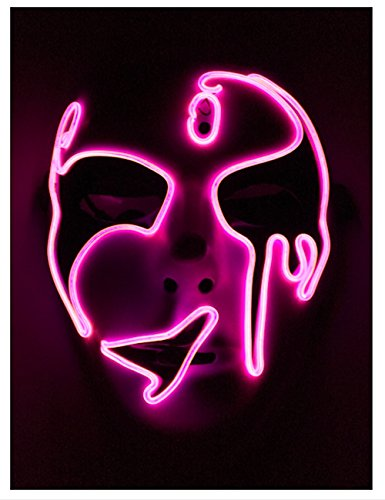 [Pink EL Wire Halloween Cosplay Led Mask Light Up Mask for Festival Parties Christmas Gifts Birthday Party Gift Any] (Rave Monster Costume)