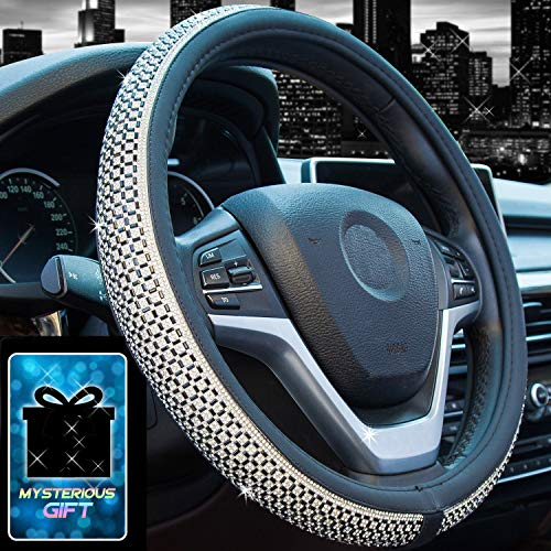 Didida Bling Steering Wheel Cover for Men Women Diamond Crystal Rhinestones Shiny Universal 15 Inch (Black) (2007 Ford Fusion Hubcaps)